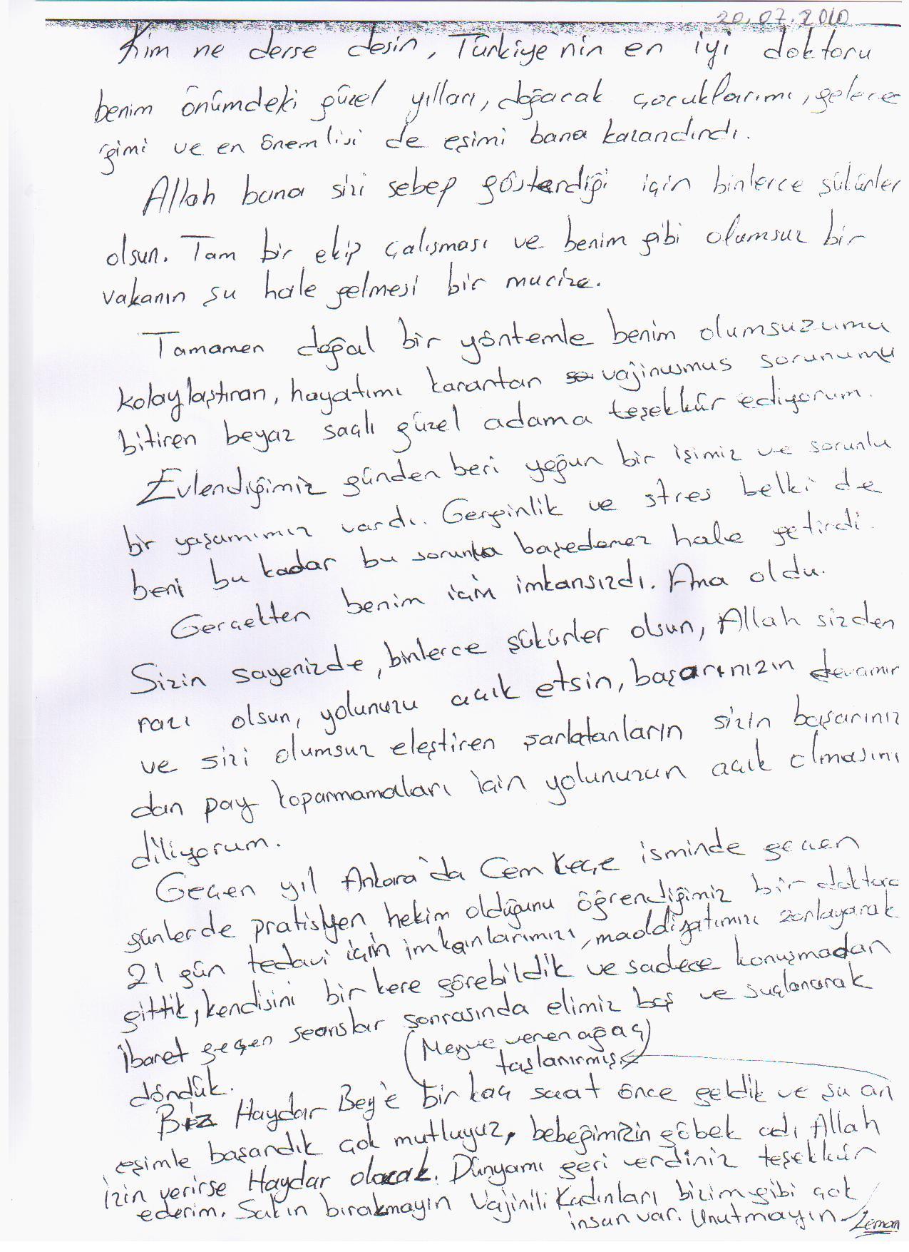 20.07.2010 Tarihli Mektup